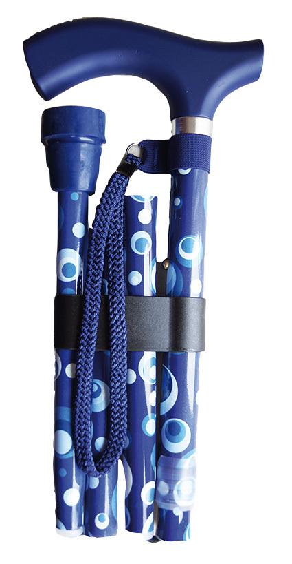 Käpp - hopfällbar med blå prickar