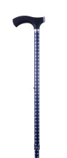 Käpp - rutig blå och svart, ställbar 77 - 100 cm