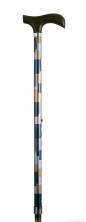 Käpp - rutig, blå/brun, ställbar 77 - 100 cm