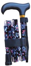 Hopfällbar käpp - svart med röda körsbär, handledsrem, 5-delad